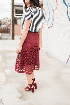 striped tee and midi skirt outfit ideas - My Style Vita @mystylevita