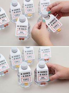 """Wedding Gifts Diy These are the cutest before and after you drink wedding favors! - Mini water bottles, B Vitamins, Advil and our darling free printable tags make these the BEST """"In Sickness and In Health"""" wedding favors ever! Creative Wedding Favors, Inexpensive Wedding Favors, Wedding Welcome Bags, Wedding Favors For Guests, Wedding Gifts, Wedding Souvenir, Wedding After Party, Wedding Tokens, Wedding Bags"""