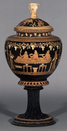 Pottery: red-figured dinos (wine-bowl) with lid and stand. On the lid, Eros and a woman; on the dinos, three banqueters attended by hetairai (courtesans) and a young satyr. Apulian (Greek) 360BC-340BC (circa)