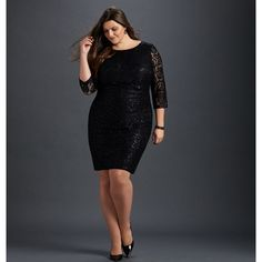 Avenue Sequin Lace Sheath Dress ($100) ❤ liked on Polyvore featuring dresses, black, plus size, plus size sequin dress, sequin cocktail dresses, long evening dresses, lace cocktail dress and 3/4 sleeve cocktail dress