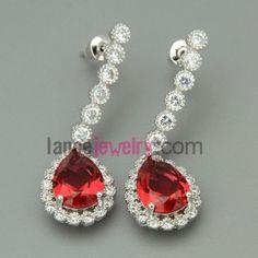 Delicate zirconia decorated drop earrings