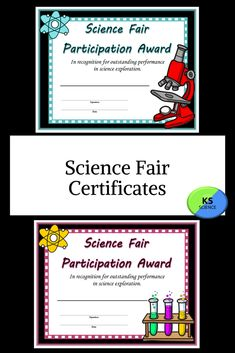 These colorful certificates are perfect to hand out for participating in the science fair. Includes 3 color versions. Students will enjoy displaying them.