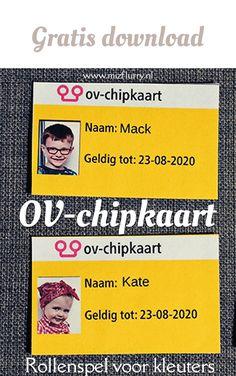 Knutsel zelf deze OV-chipkaart met behulp van deze gratis printable voor kinderen. Rollenspel kleuters thema trein.