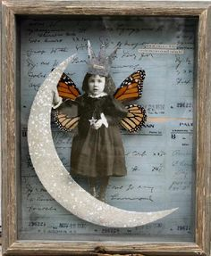 I LOVE her Work~A Stephanie Rubiano art collage with antique photographs and coduments and real butterfly wings