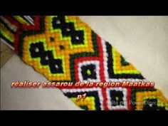 kabyle assaru 1P - YouTube Wool Art, Tapestry Crochet, Micro Macrame, Bargello, Bracelet Patterns, Hand Weaving, Crochet Patterns, Make It Yourself, Beads