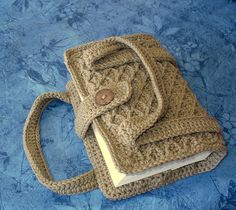 Crocheted Book/Bible Cover Paperback Tote with button closure and handles by debscrochet