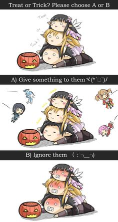 "Let's celebrate Halloween with Kirito, Asuna and Yui-chan~ Treat or Trick? ""ψ(`∇´)ψ Happy SAO Halloween Anime Meme, Fan Anime, Sword Art Online Meme, Sword Art Online Kirito, Arte Online, Online Art, Pokemon Comics, Anime Comics, Light Novel"