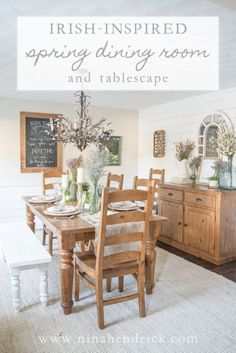 Gather St. Patricks Day inspiration with this Irish-inspired dining room and tablescape decor for spring from Nina Hendrick Design Co. #spring #gather #irish #homedcor #farmhouse