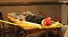 A crime scene located under a typical English pub, and you have been called to solve the case!