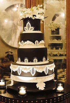 Black and White Wedding Cake with Lace   Photos   Brides.com