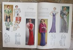 Pictorial Review Fashions Pattern Book, Summer 1936 featuring 8319 (jackets) and ? on the left page, 8300, 8308 and ? on the right page