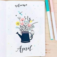 15 Wonderful April Bullet Journal Cover Pages to Inspire You - - A new month is on its way! It's time to start thinking about your April 2019 Bullet Journal setup and cover page. Ready to plan with me? Bullet Journal Front Page, Bullet Journal Spreads, December Bullet Journal, Bullet Journal Monthly Spread, Bullet Journal 2020, Bullet Journal Notebook, Bullet Journal Aesthetic, Bullet Journal Themes, Bullet Journal Layout