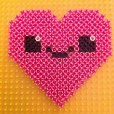 Kawaii heart striped perler beads by perlerqueen