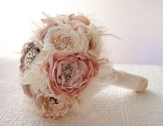 Romantic handmade bouquet made from recycled fabrics and old world details | The Natural Wedding Company