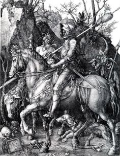 "Albrecht Durer  Knight, Death and the Devil (German: Ritter, Tod und Teufel) is a large 1513 engraving, one of the three ""master prints"" of the German artist Albrecht Dürer."