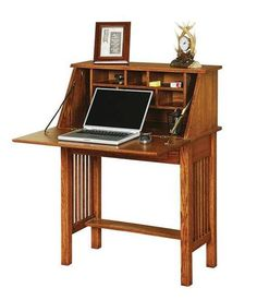 Solid Wood Mission Style Secretary Desk So perfect for small spaces! This Mission Style Secretary desk fits right in and closes right up when you want to put your work away. Versatile solid wood style. Amish made in choice of wood, stain and hardware. #smalldesks #desk #secretarydesk #officefurniture