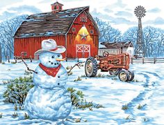 Paintworks® Country Snowman Paint-by-Number Kit Christmas Scenes, Christmas Snowman, Christmas Crafts, Snowman Kit, Christmas Items, Christmas Ornaments, Western Christmas, Country Christmas, Snowman Cross Stitch Pattern