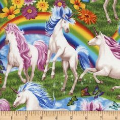 Timeless Treasures Unicorns and Rainbows Multi from @fabricdotcom  Designed by Michael Searle for Timeless Treasures, this cotton print fabric is perfect for quilting, apparel and home decor accents. Colors include yellow, red, green, purple, pink, blue, orange and turquoise.