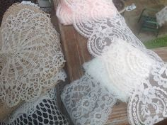 Beautiful pink and white trim $1.00 a piece. Planning a sink skirt with the trim paired with burlap.