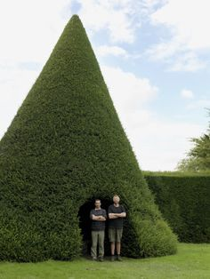 National Trust gardeners in the topiary yew cone arbour at Antony, Cornwall