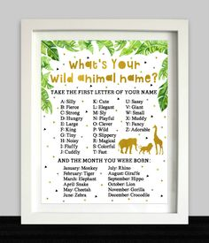 Boy Names Discover Whats Your Wild Animal Name First Birthday Games, Safari Birthday Party, Birthday Name, Jungle Party, Animal Birthday, First Birthdays, Jungle Safari, Birthday Ideas, Things To Do At A Sleepover