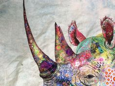 Black rhino form Lewa conservancy textile embroidery