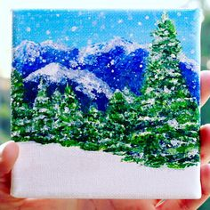 Original Snowy Mountain Tree Landscape Acrylic Painting