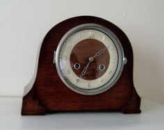 Vintage Art Deco Bentime Oak Mantel Clock 8 Day Keys Winders Mechanical Chiming