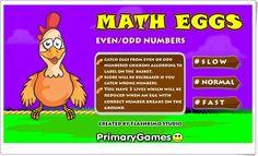 """""""Huevos de pascua"""" de primarygames.com (Números pares e impares). Los huevos de pascua, de primarygames.com, son puestos por las gallinas y es necesario recogerlos en la cesta para que no se rompan. Eso sí, si la cesta es de números pares (""""Even"""") sólo se recogerán los huevos con números pares y si la cesta es de números impares (""""Odd"""") sólo se recogerán los huevos con números impares."""