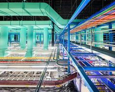 """#Datacenter """"NY4"""" The new trading floor: This view from a catwalk shows some of the miles of fiber-optic cable that connect to machinesbelow"""