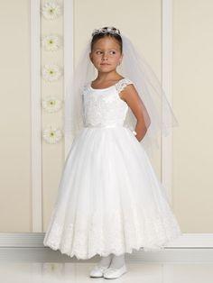 Little Scoop Neckline Lace Satin First Communion Dresses (BSFCD-068)