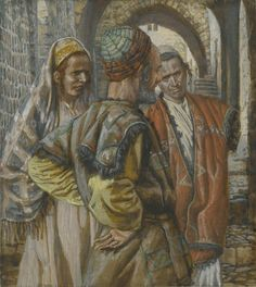 """Simon the Cyrenian and His Two Sons Alexander and Rufus by James Tissot, (1836-1902), 1886-1894, Brooklyn Museum. """" A certain man from Cyrene, Simon, the father of Alexander and Rufus, was passing by on his way in from the country, and they forced him to carry the cross. They brought Jesus to the place called Golgotha (which means """"the place of the skull"""")."""" Mark 15:21-22 (NIV)"""