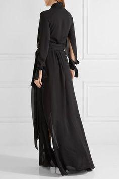45c4fb0bdfdb Juan Carlos Obando - Wrap-effect Silk-chiffon Gown - Black