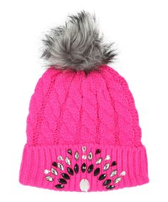 Look at this #zulilyfind! Betsey Johnson Neon Pink & Gray Jewels Pom-Pom Beanie by Betsey Johnson #zulilyfinds