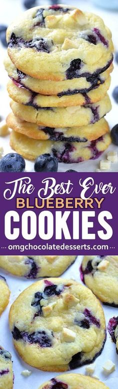 These easy blueberry cookies are also the best: light as air with crispy exteriors and soft, cream cheese and fruit-filled middles. Fruity, soft, and chewy cookie studded with creamy white chocolate chips. #cookies #cookierecipes #blueberry #blueberrycookies #creamcheesecookies
