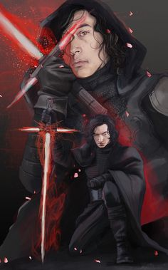 """littleststarfighter: """" A Knight full of deceit. A Hound of loyalty. Old old pic I did before the great computer crash. Basically I couldn't buy the Hot Toy Kylo, so I drew him. The Kylo in the background is my Hound from my Emperor Hux AU. Which now..."""