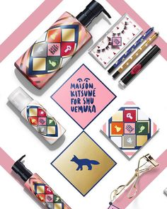 Our #maisonkitsuneforshu collaboration is now available online and in #MaisonKitsune and @shuuemura_ww stores !! Eyeshadows, lipsticks, liners, cleansing oil, eyelash curler and so much more