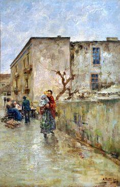 Strada di Napoli by Attilio Pratella  (Lugo di Romagna, RA 1856 - Napoli 1949)