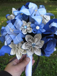 Custom Paper Flower Wedding Bouquets. You Pick The Colors, Papers, Books, Etc.  Anything Is Possible. CUSTOM ORDERS WELCOME. $85.00, via Etsy.