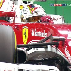 Great shot of Sebastian Vettel's eyes as he drives, under the lights at the…