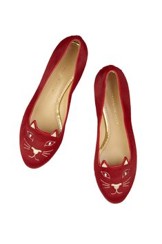 Christmas Kitty Ballet Flats! fall 2012, Charlotte Olympia, shoes, flats, red