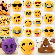 Yellow Round Cushion Soft Emoji Smiley Emoticon Stuffed Plush Toy Pillow Doll Je #Unbranded #emoji