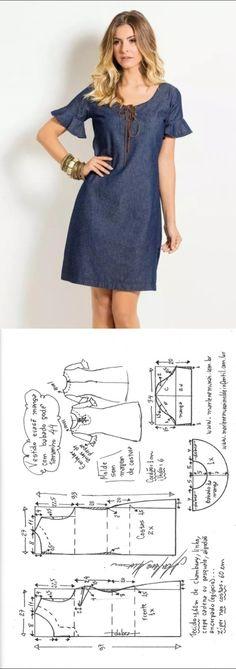 El patrón del vestido jeans (la Costura y el corte) — la Revista la Inspiración de la Laborera