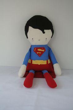 Stuffed Doll, Rag Doll, Superman Doll, Superhero, Doll, Super Hero Doll, Action Figure Doll, Handmade Doll, Fabric Doll, Soft Toy, Boy Doll. $105.00, via Etsy.