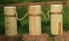 "Nautical Roped Single Cedar Piling Pier 3 Posts 12"" T"