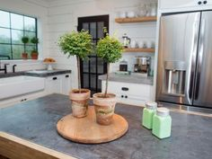 The centerpiece on the island in the second story kitchen of the Meek home, as seen on Fixer Upper. (after)
