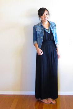 Black maxi dress, jean jacket, necklace