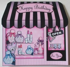 Card Gallery - Pamper yourself Shop Shaped Card decoupage n greetings