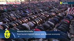 In Moscow Muslims do the prayer of Eid al-Adha