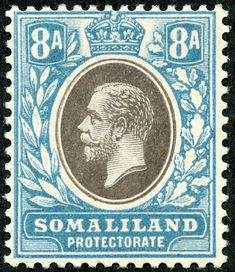 """1912 Scott 58 light blue & black """"George V"""" Quick History The Somaliland Protectorate (British Somaliland) bordered on the Gulf of A. Horn Of Africa, British Colonial, Fauna, Stamp Collecting, Postage Stamps, The Past, Presents, African, History"""